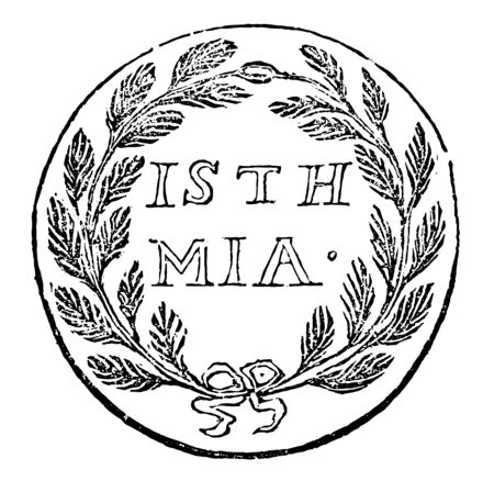 This medal commemorates the Isthmus Games, held on the Corinthian isthmus in honor of Neptune, vintage line drawing or engraving illustration. Ilustração