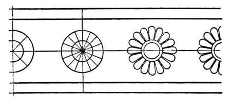 Antique Bronze Shield Rosette Band is a small flower pattern, it is an American band, vintage line drawing or engraving. Illusztráció