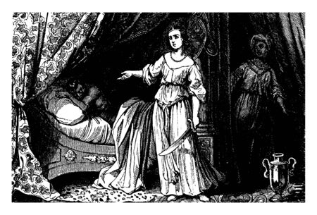 An ancient picture of Judith ready to behead Holofernes. She can be seen standing by his bed and holding sword in her hand. Also her maid can be seen acting as lookout, vintage line drawing or engraving illustration. 矢量图像