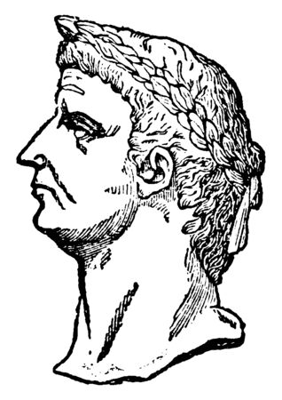 Claudius, 10 BC-54 AD, he was Roman emperor from 41 to 54 and member of the Julio-Claudian dynasty, vintage line drawing or engraving illustration