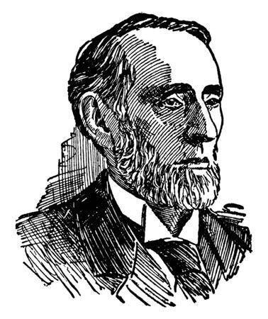 Shelby M. Cullom, 1829-1914, he was a member of U.S. house of representatives, U.S. Senator and 17th governor of Illinois, vintage line drawing or engraving illustration
