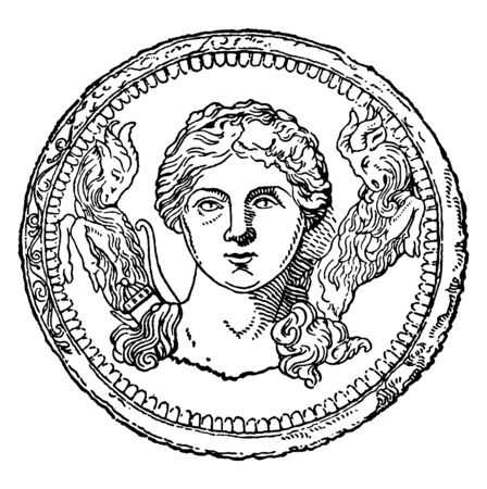Roman Diana also known as Artemis was the ancient Greek goddess of hunting. She is also believed to be a goddess of childbirth and the protector of the girl child, vintage line drawing or engraving illustration.