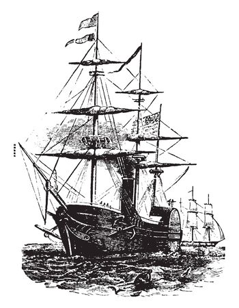 Boat with paddlewheel is a small human powered watercraft propelled by the action of pedals turning a paddle wheel, vintage line drawing or engraving illustration.