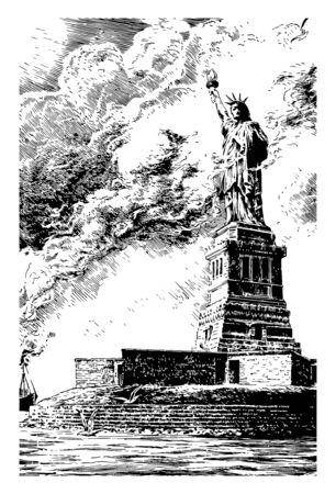 statue of Liberty, New York is  a enlightening the world, was dedicated in 1886 and in 1924 it was designated as national monument vintage line drawing. Stock Illustratie