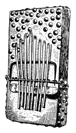 Sansa is an African musical instrument which consists of a sounding board of some hard wood with strips of iron, vintage line drawing or engraving illustration.