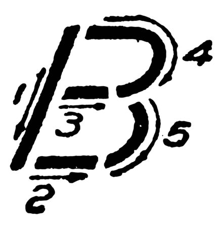 This illustration represents Inclined Capital Letter B, vintage line drawing or engraving illustration.