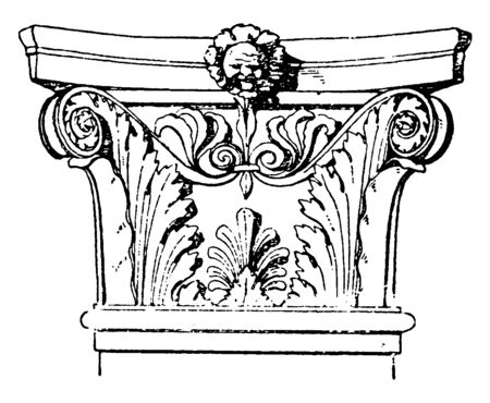 Corinthian Pilaster Capital, an Italian Renaissance design, broader in proportion to its height,  encircled with artificial leaves, vintage line drawing or engraving illustration.