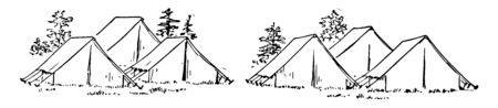 Tent is a shelter. Tents are used by nomads, campers & disaster victims. Illustrations shows Six tents grouped into 3 tents. These tents are near the trees, Vintage line drawing or engraving illustration.