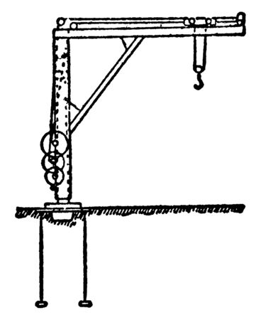 This illustration represents Foundry Crane which used at the place where the molten metal is lifted, vintage line drawing or engraving illustration. 일러스트