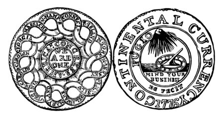 The image shows the Pewter Dollar Currency found in 1776. These patterns use designs provided by Benjamin Franklin and composed of Pewter, Brass and Silver, vintage line drawing or engraving illustration.