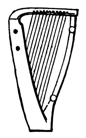 Anglo Saxon Harp is the original instrument of the bardic class, vintage line drawing or engraving illustration.