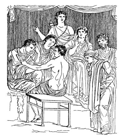 An illustration showing Greek mythology when day of Admentus death came and all family members and friends surrounded him worriedly, vintage line drawing or engraving illustration. Иллюстрация