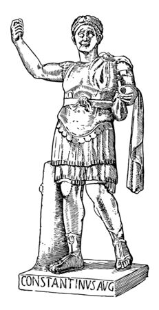 Constantine the Great, 272 AD-337AD, he was emperor of Rome from 306 to 337, famous for being the first Christian Roman emperor, vintage line drawing or engraving illustration Ilustrace