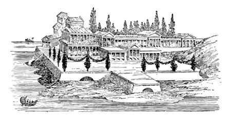Cette image montre l'ancienne villa romaine. Il y a beaucoup d'arbres à l'avant et à l'arrière, dessin au trait vintage ou illustration de gravure.