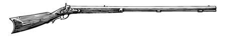 Remington Rifle is an American manufacturer of guns and ammunition, vintage line drawing or engraving illustration. Standard-Bild - 132978845