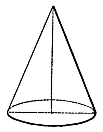 Der Kegel ist eine dreidimensionale geometrische Form. Die Kegelachse ist die gerade Linie, Vintage-Linien-Zeichnung oder Gravurdarstellung.