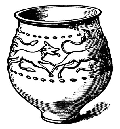 Jar of Castor ware with reliefs of a stag pursued by a hound, its executed in semi-fluid slip, vintage line drawing or engraving illustration. Illustration