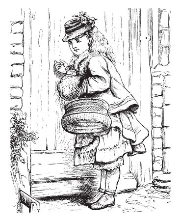 A woman with basket knocking on a door, vintage line drawing or engraving illustration