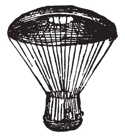 Parachute is a device used to slow the motion of an object through an atmosphere by creating drag, vintage line drawing or engraving illustration. 일러스트