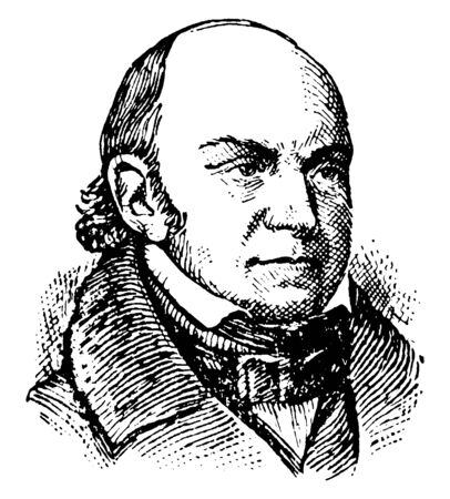 John Quincy Adams, 1767-1848, he was the sixth president of the United States from 1825 to 1829, vintage line drawing or engraving illustration Векторная Иллюстрация