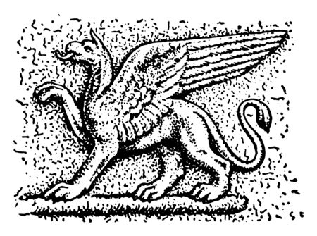 In this picture shown Griffin who an imaginary animal supposed to be generated between the lion and the eagle, vintage line drawing or engraving illustration. Çizim