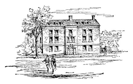 Washingtons Headquarters at New York, built in 1750 where George Washington lived during the American revolutionary war vintage line drawing. Illustration