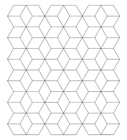 The image shows a beautiful design of the tessellation block together with the three-dimensional square construction structure, vintage line drawing or engraving illustration.