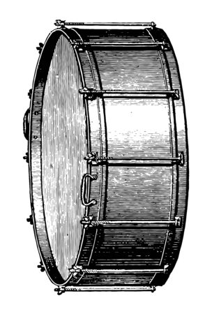 Bass drum struck with a padded stick, vintage line drawing or engraving illustration.