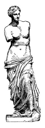 Vénus de Milo est une célèbre statue grecque antique, un dessin de ligne vintage ou une illustration de gravure. Vecteurs