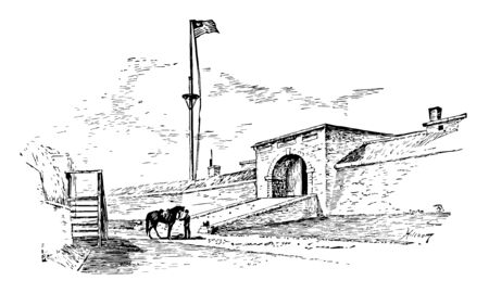 Fort McHenry Sallyport is a national monument and a historic Shrine, Maryland vintage line drawing.  イラスト・ベクター素材
