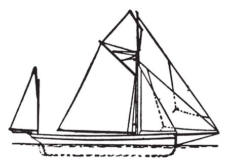 Yawl is a two masted sailing craft similar to a sloop or cutter but with an additional mizzenmast located well aft of the main mast, vintage line drawing or engraving illustration.
