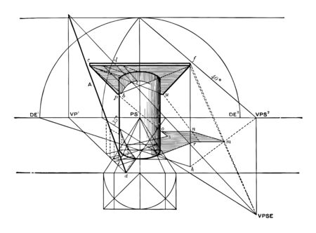 A column that helps a horizontal square slab at right angles to the plane of the image. A pole is tilted as opposed to the wall in the back and forged shadow sitting on the column, vintage line drawing or engraving illustration. Ilustração