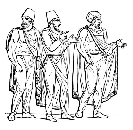 There are three people in this image. All the peoples wear the Sagum costume. They also wear a hat on their heads, vintage line drawing or engraving illustration.