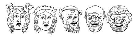Different faces of Comedy masks, vintage line drawing or engraving illustration.