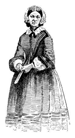 Florence Nightingale, 1820-1910, sie war eine englische Sozialreformerin und Statistikerin und die Begründerin der modernen Krankenpflege, Vintage-Linienzeichnung oder Gravierillustration