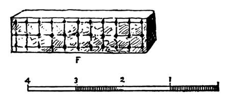 This is the image of Freemasonry. There is a scale below the object. There is a small square on the surface of the object, vintage line drawing or engraving illustration.