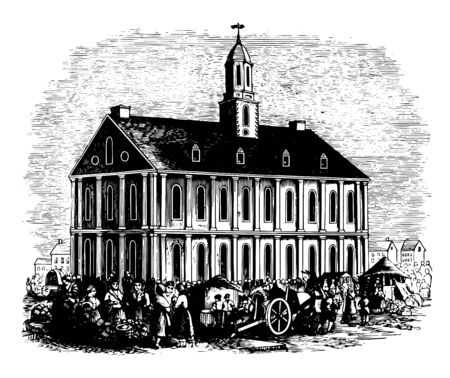Faneuil Hall built in 1742 located in Boston Massasschusets is built by artist John Smibert vintage line drawing.