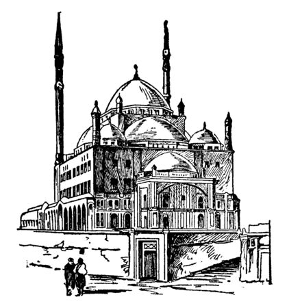 The picture depicts the mosque Mohammed Ali which is located in Cario, vintage line drawing or engraving illustration.