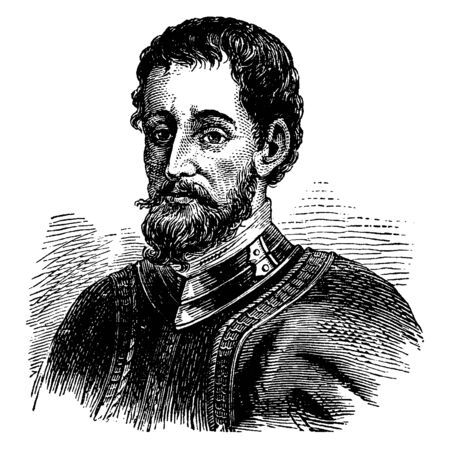 Hernando De Soto, c. 1495-1542, he was a Spanish explorer and conquistador, and first European to discover the Mississippi river, vintage line drawing or engraving illustration