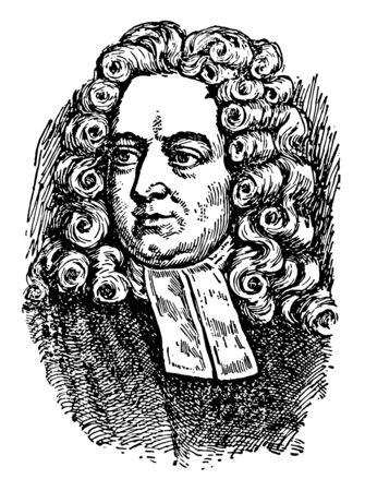 Jonathan Swift, 1667-1745, he was satirist, essayist, political pamphleteer, poet and cleric, vintage line drawing or engraving illustration