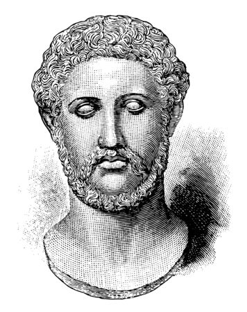 Alcibiades,  c. 450404 BC , he was a general and prominent Athenian statesman, one of the political leaders in Athens during the Peloponnesian war, vintage line drawing or engraving illustration Illustration