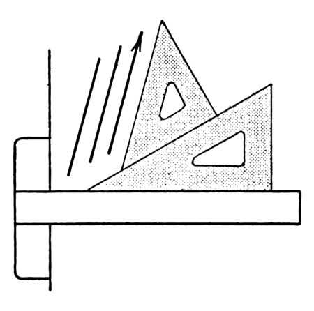 Triangle Set Up for 75 Degrees or 15 degrees with the vertical and scaled-up version of the smaller triangle, corners off and placed them together, vintage line drawing or engraving illustration.