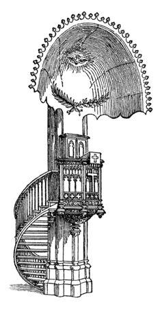 Como se muestra, el cuenco y el zócalo son de piedra de Barnack, el eje del clunch. Estaba encajado en el extremo de un banco estrecho, apoyado en el primer pilar del extremo oeste de la nave en el lado sur, dibujo de línea vintage o ilustración de grabado.
