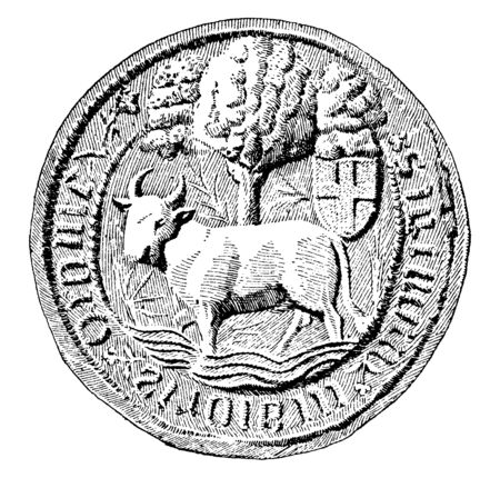 Riddle-seal of Oxford, the riddle in this is an ox crossing a ford, it contains a rebus, riddle or other descriptive device, vintage line drawing or engraving illustration