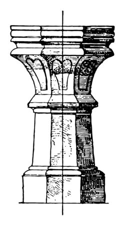 This stoup is found in Roman Catholic churches which contains holy-water, vintage line drawing or engraving illustration.