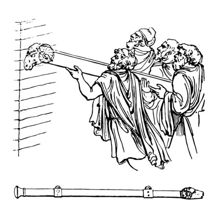 An Aries had a head of a ram and a large beam used to batter down walls, vintage line drawing or engraving illustration. Illustration