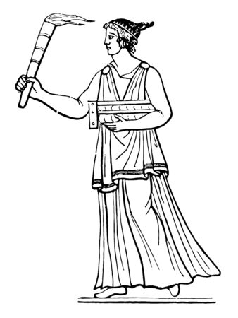 A Greek woman carrying a Cista and a torch, vintage line drawing or engraving illustration. Çizim