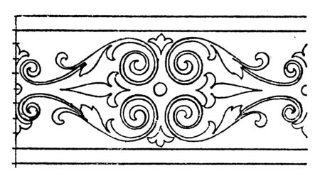 Border Undulate Band is a design found in a picture by Domenico Zampieri, It is a floral wavelike design, vintage line drawing or engraving. Stockfoto - 132979312