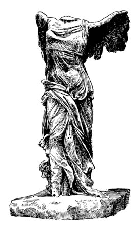 Winged Victory of Samothrace is a marble sculpture, vintage line drawing or engraving illustration. Stock Illustratie