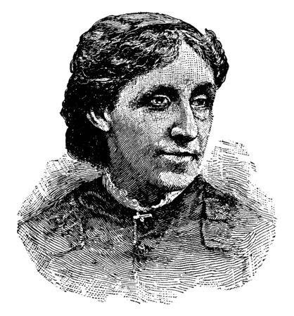Louisa May Alcott, 1832-1888, elle était célèbre romancière et poète américaine, dessin au trait vintage ou illustration de gravure Vecteurs